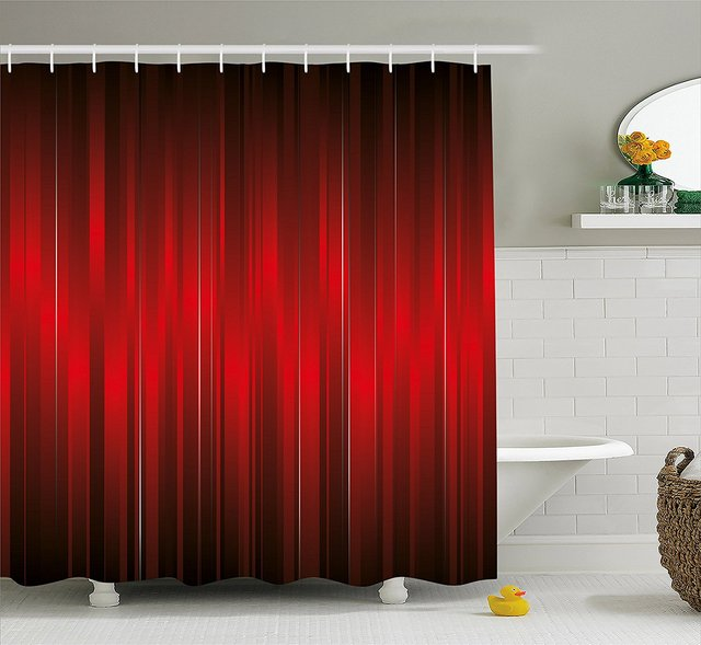 Maroon Shower Curtain Vibrant Design Of Vertical Color Bands Stripes Vintage Dramatic Pattern Vignette Black