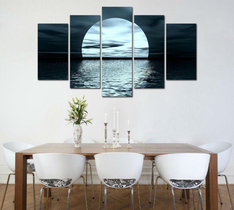 grupo grande hd imprimir pintura luna llena ocano luz de la luna de la lona