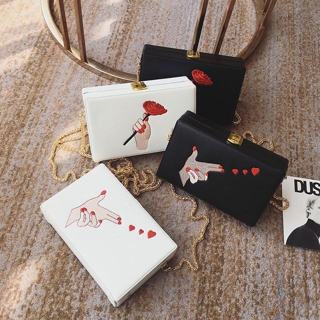 Fashion Embroidery Rose Finger Pattern Box Clutch Bag Ladies Casual Purse Chain Shoulder Bag Handbag Female Flap Evening Bag