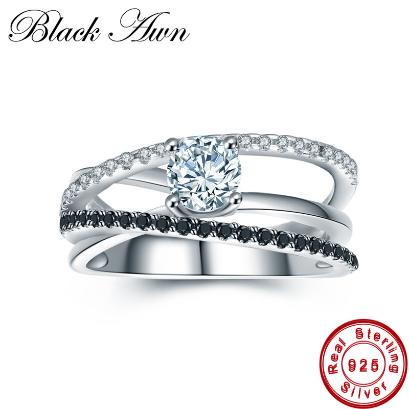 [BLACK AWN] 4.6g 925 Sterling Silver Jewelry Trendy Wedding Rings for Women Black Spinel Engagement Ring Femme Bijoux Bague C010 [black awn] 925 sterling silver fine jewelry set trendy engagement wedding necklace earring for women pt161