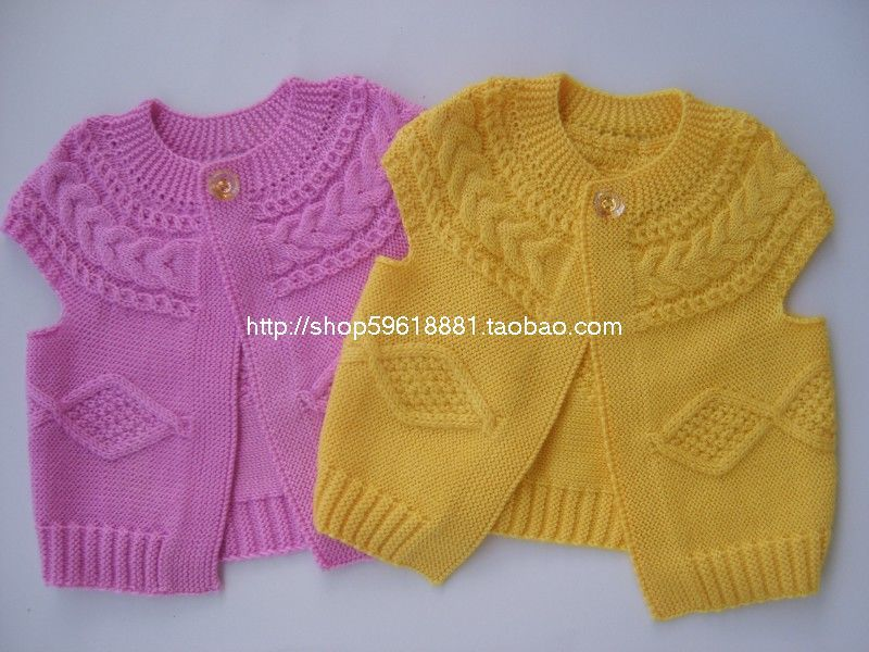 New Hand Knitted Baby Wool Cardigan Sweater Vest Size 6 12 Months