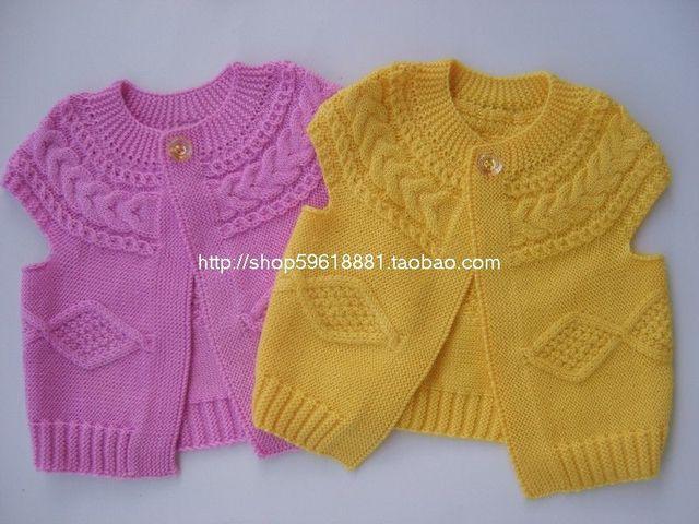 Nuevo tejido a mano del bebé chaqueta de punto de lana chaleco ...