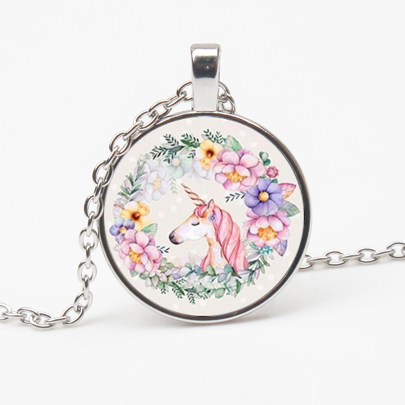 Charming Cute Unicorn Pattern Vintage Necklace Antique Bronze Chain Glass Pendant Female Handmade Jewelry Gifts