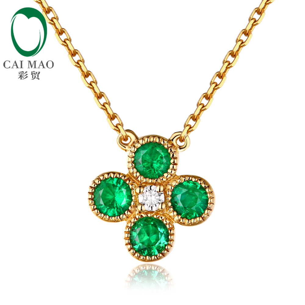 Caimao Jewelry 18kt Yellow Gold Natural 0.63ct Emerald & Diamond Engagement Chain Pendant caimao jewelry natural red ruby with pearl and diamond engagement 14ct yellow gold pendant