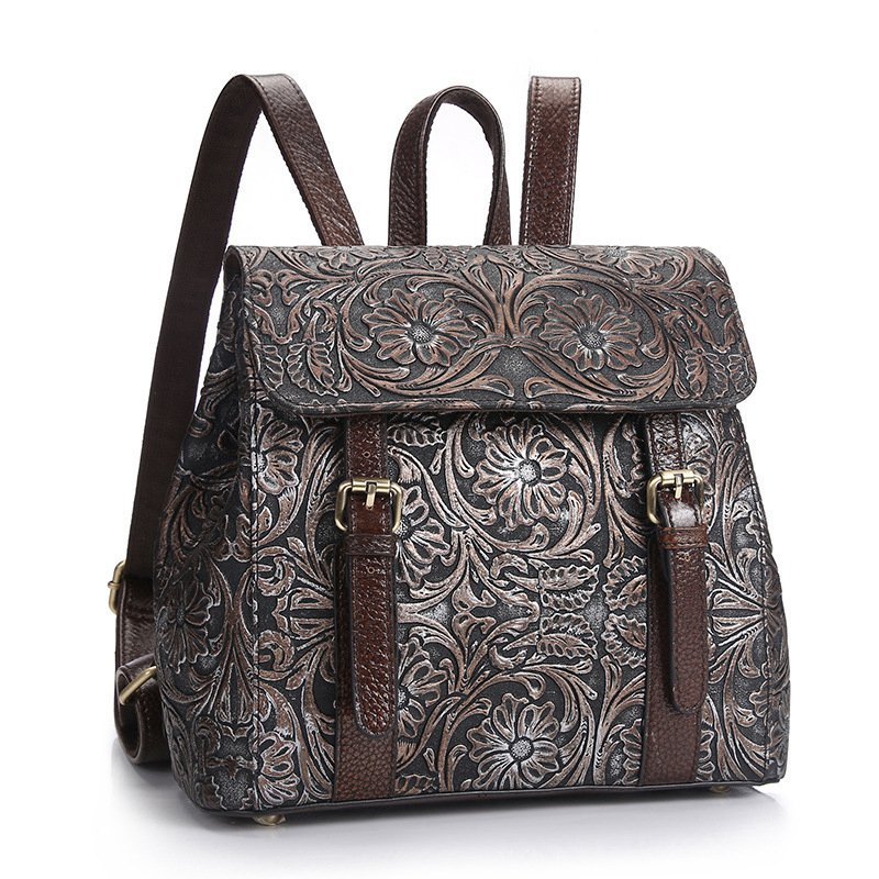 Vintage Genuine Leather Backpack Women Vintage Floral Printing Backpack For Girls School Bags For Teenagers BagPacks Sac A Dos british style printing vintage backpack female cartoon school bag for teenagers high quality pu leather backpack sac a dos femme