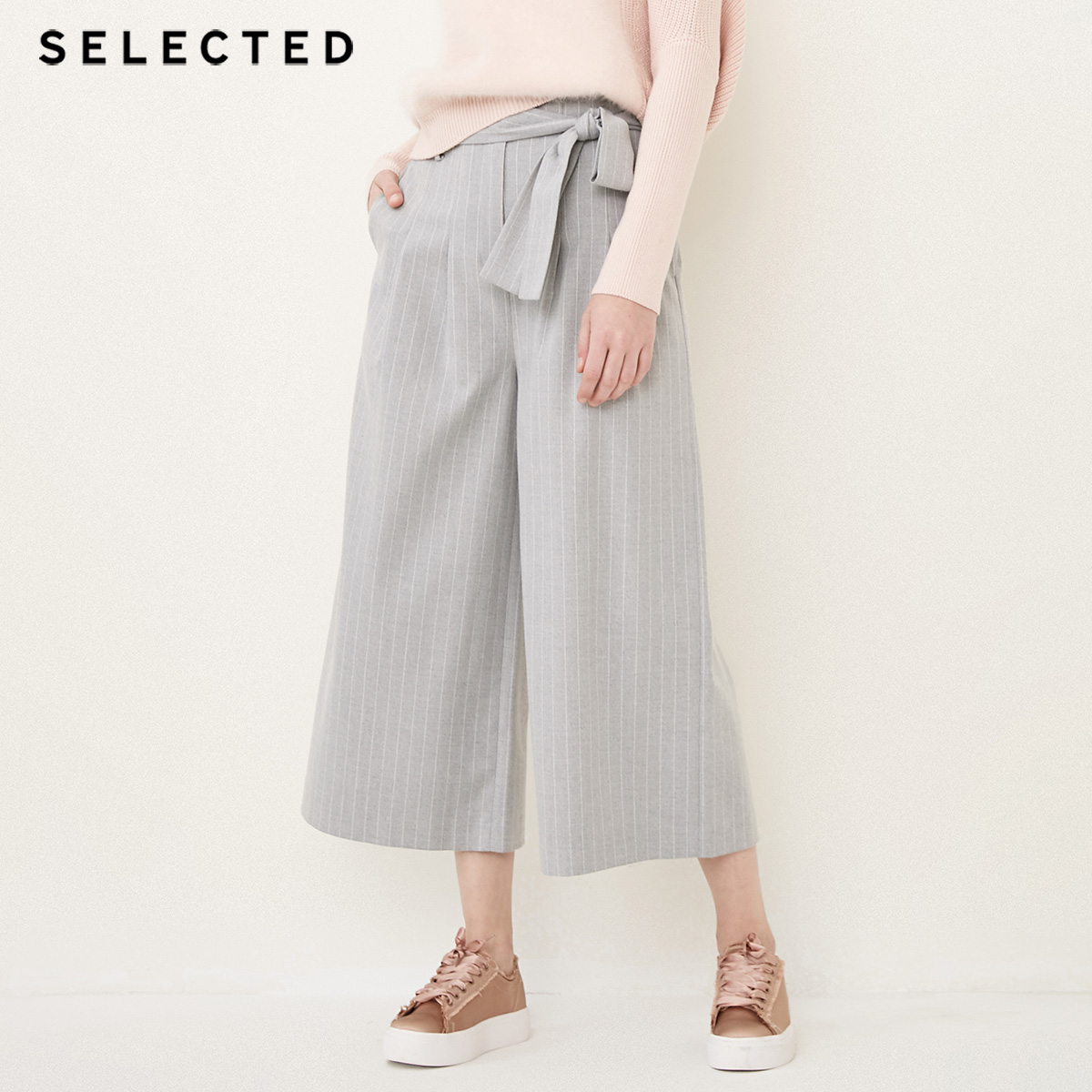 SELECTED Women's Autumn Striped Lace-up Loose Fit Wide-leg Casual   Capri     Pants   S|418114510