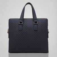 2018 High QualityMen Genuine Leather Briefcase Shoulder Bags Classic Black Blue Male Business Handbag Vintage Computer Laptop