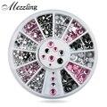 Hot Mix Tamanhos Rosa Claro Cinza Glitter 3d Nail Art Strass Decoração Roda DIY Ferramentas de Beleza Do Prego