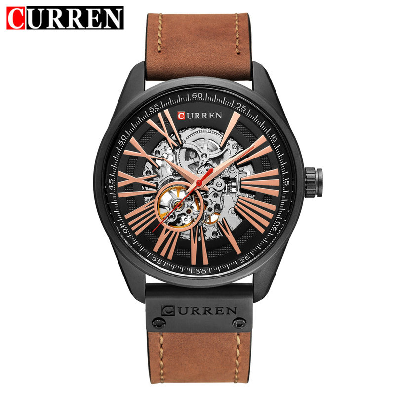 CURREN Military Men's Skeleton Wristwatch Leather Antique Steampunk Watch Casual Automatic Self-Wind Mechanical Watches Male цена 2017
