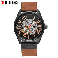 CURREN Military Men's Skeleton Wristwatch Leather Antique Steampunk Watch Casual Automatic Self Wind Mechanical Watches Male