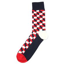 Combed Cotton Sox stockings Mens 1pair Tide Brand Happy Stocking Colorful Gradient Diamond Men Harajuku Casual Business