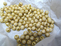 100pcs 6 8 10 12mm Alloy Rhinestone Spacer round ball Connector sideways Bead gold,rose gold,silver,gunmetal,hematite