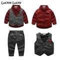 3 шт./компл. мальчиков одежда рубашка + жилет + брюки roupas infantis menino детская мода одежда детская одежда для партии
