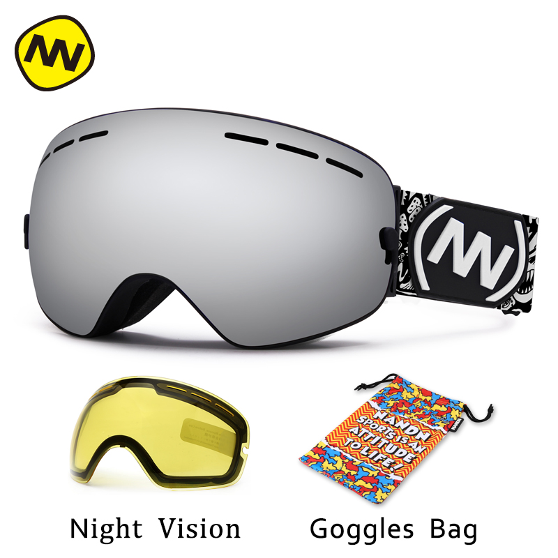 NANDN Brand Ski Goggles UV400 Anti-fog Big Ski Mask Glasses Skiing Men Women Snow Snowboard Goggles