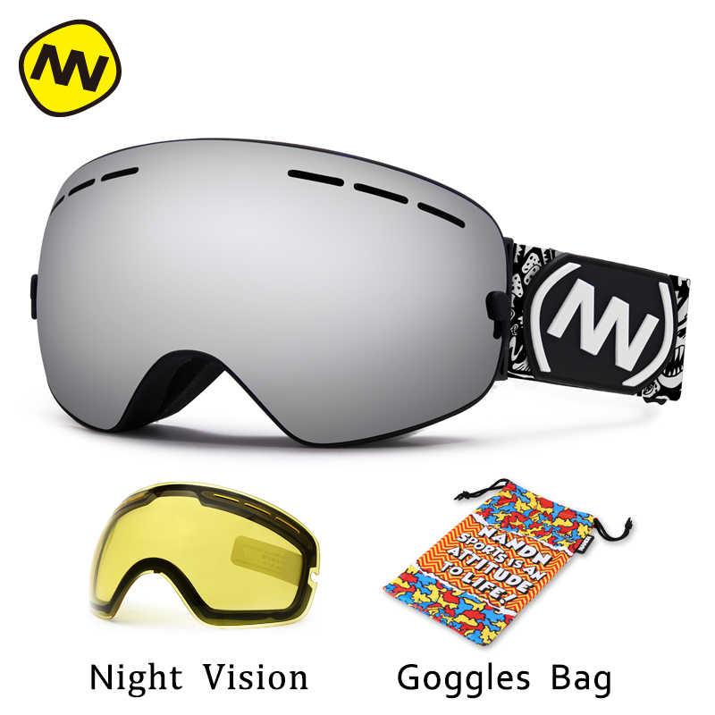 efd07eb4da80 Nandn brand ski goggles uv anti fog big ski mask glasses skiing men women  snow snowboard