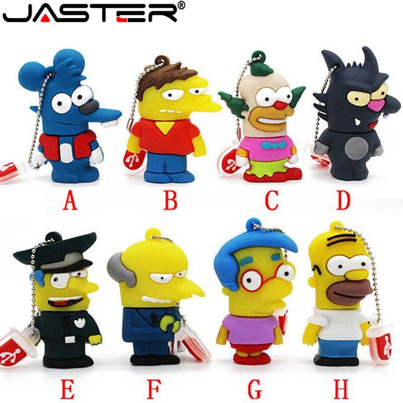 JASTER Cartoon Simpsons Homer Bart USB Flash Drive 4GB 8GB 16GB 32GB 64GB Flash Memory Disk Police USB Pen Drive Pendrive Gift