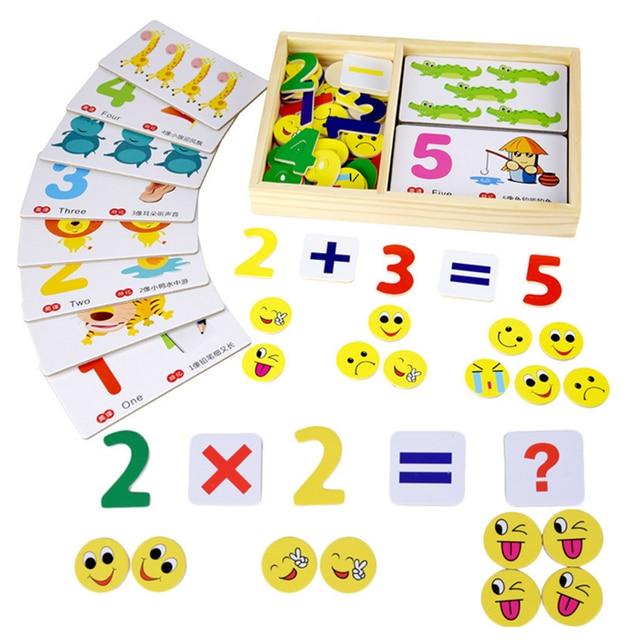 1 Set Children Creative Wooden Montessori Number Digital Mathematics ...