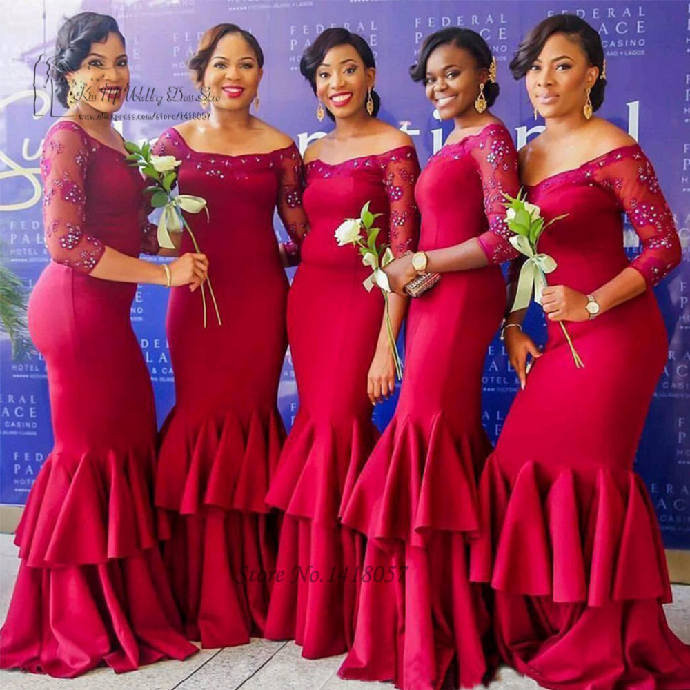 Sexy burgundy mermaid bridesmaid dresses long satin for Cheap formal dresses for wedding guests