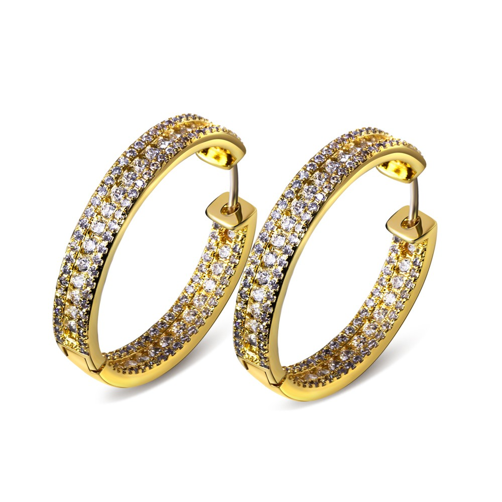Classic Women Hoop Earrings 30MM Circle Party Fashion Jewelry Pave Setting AAA Cubic Zirconia White color Lead Free