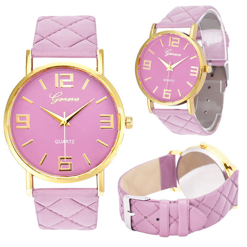 Fashion candy color Women watch Geneva Faux Leather Analog Quartz Wrist classic Watch gift relogio feminino Dropshipping NMB18 mance new fashion brand women s watches luxury geneva faux leather analog quartz wrist watch relogio feminino quality gift