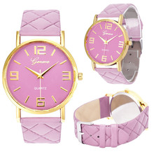Fashion candy color font b Women b font font b watch b font Geneva Faux Leather