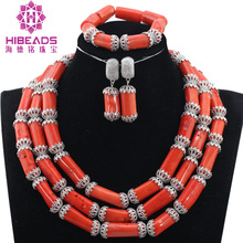 Coral African Beads Jewelry Set Nigerian Wedding Beads Jewelry Set India Necklace Set Free Shipping QW1143