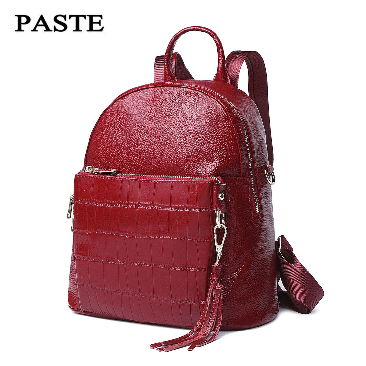 Genuine Leather Women Backpack Small Fashion Tassel Casual Girl Leather Backpack Brand Female Bags unicalling women leather backpack fashion quality genuine leather women backpack hieroglyphic real leather small backpack female