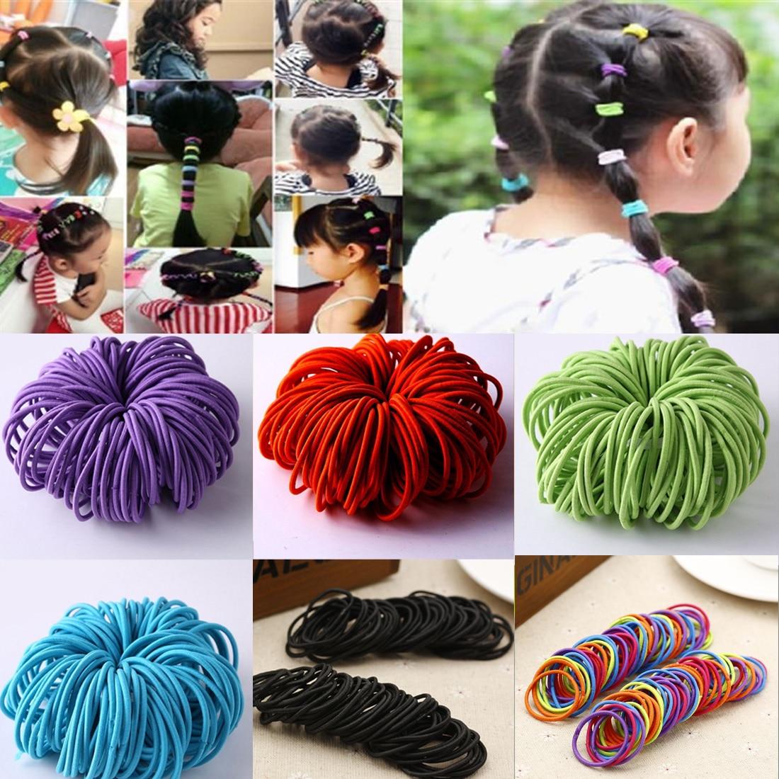 50Pcs/Set Elastic Hair Bands Black Hairbands for Girls Fashion Women Gum Accessories