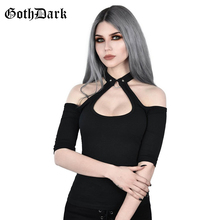 Gothic off shoulder backless t-shirt women cut out black halter crop tops sexy slim fit hoop cool tee 2019 fashion streetwear