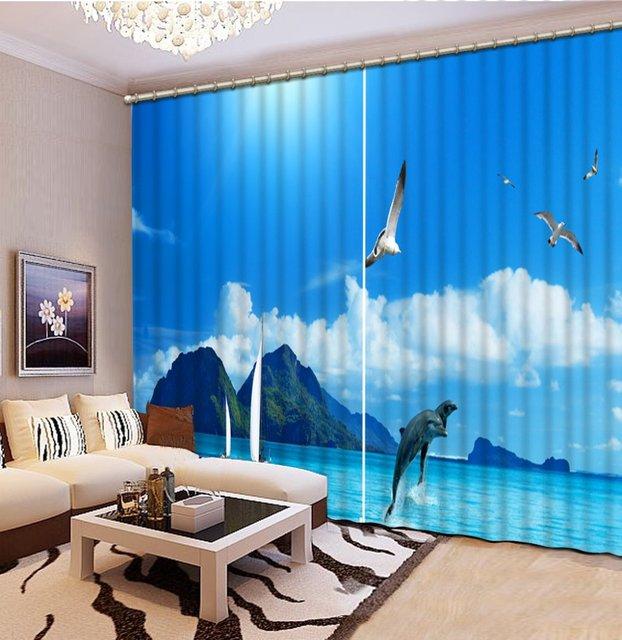 custom 3d gordijnen woonkamer blue sky en zee landschap luxe gordijnen slaapkamer gordijn patronen franse