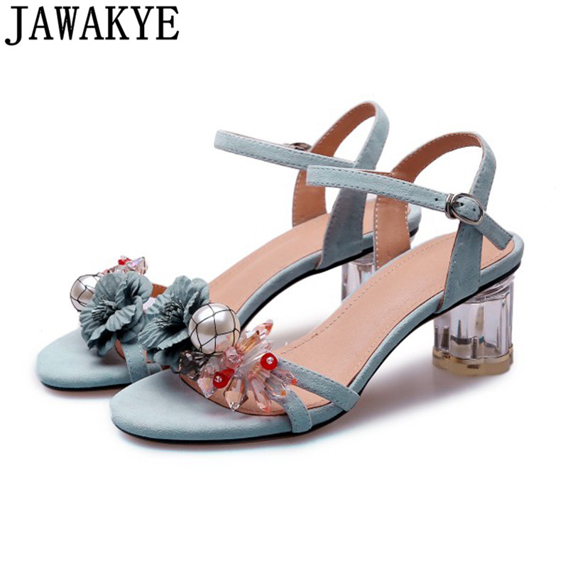 Sweet Transparent Crystal high heel sandals women genuine leather ankle buckle strap diomand flower summer shoes