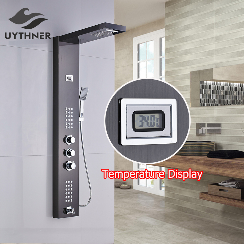 Uythner Thermostatic Shower Panel with Hand Shower Shower Column Stainless Steel Oil Rubbed Bronze allen roth brinkley handsome oil rubbed bronze metal toothbrush holder