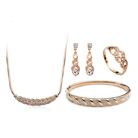 ZHOUYANG Top Quality Waltz of Love Rose Gold Color Austrian Crystal Jewelry Sets With Ring Necklace Earrings Bangl ZYS359