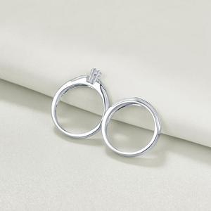 Image 2 - Newshe 2 Pcs 결혼 반지 세트 마름모꼴 모양 925 스털링 실버 라운드 컷 AAA CZ 영원 약혼 반지 QR104772