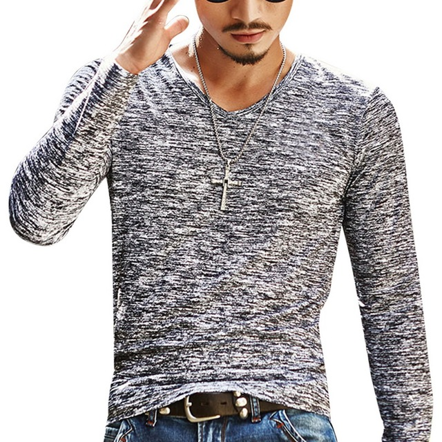Abstract Slim Fit V-Neck T-Shirt 4