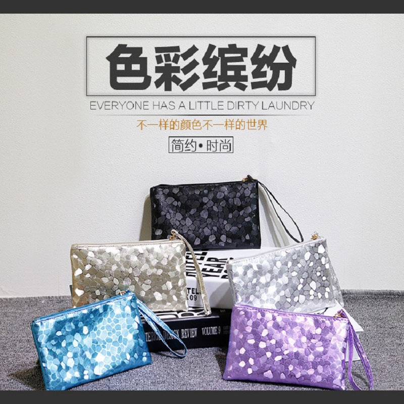 long clutch wallet fashion silver patent leather stone pattern PU Leather purse money Bag Coins Holder elegant