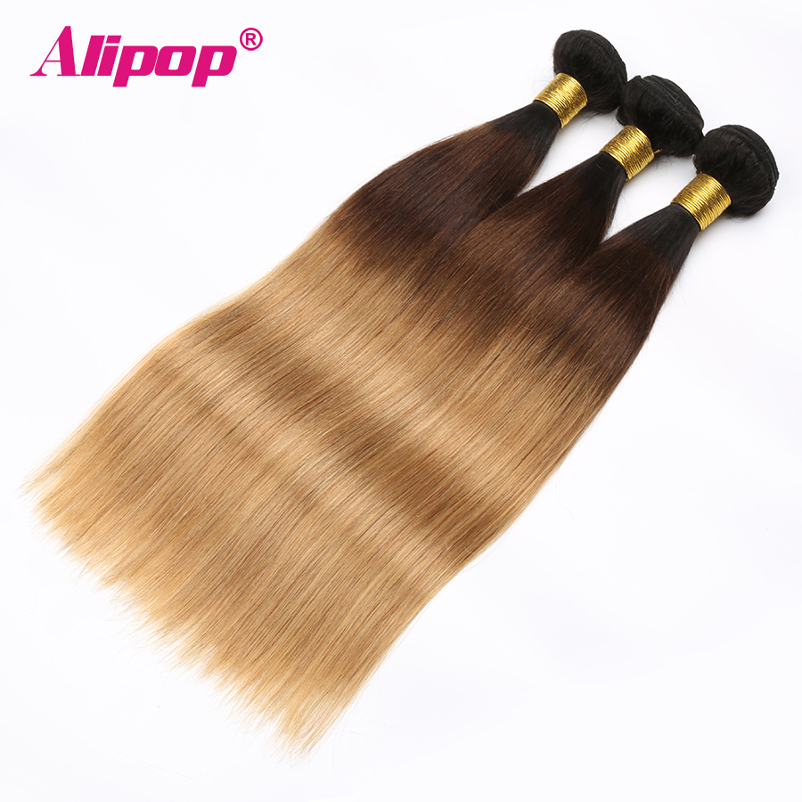 Ombre Brazilian hair Straight 3 Bundles 3 Tone 1B427 Colored Human Hair Weave Bundles Deal Non Remy Hair Extensions ALIPOP (6)