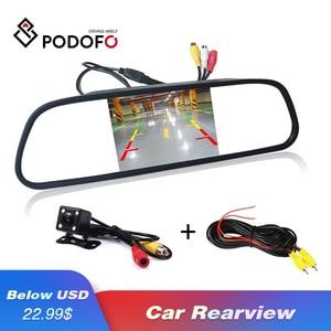 Image 1 - Podofo HD 4,3 Zoll Auto Monitor Spiegel Screen TFT LCD Farbe Display Parkplatz System für Rückfahr Kamera Nachtsicht umkehr