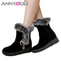 ANNYMOLI Winter Snow Boots Plush Shoes Women Ankle Boots Real Rabbit Fur Ladies Short B Platform Wedge Heels Red Plus Size 35 43