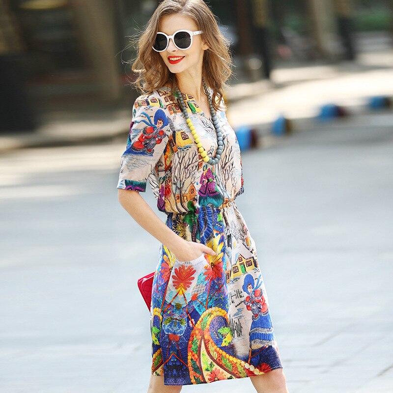 Femmes Corde Qualité 2016 Mousseline Soie Taille Multi Robe Mince Plus Robes Pompage Mode En Été De Nouvelle Printted Printemps Haute Longue L'ukraine rOrFwq