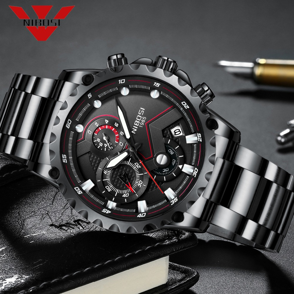 NIBOSI Sport Watch Quartz Wristwatches Waterproof Hiking Traveling Style Fashion Watches Stainless Steel Men Watch Classic BlackNIBOSI Sport Watch Quartz Wristwatches Waterproof Hiking Traveling Style Fashion Watches Stainless Steel Men Watch Classic Black