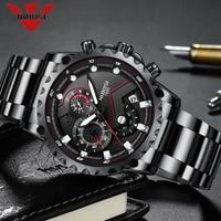NIBOSI Sport Watch Quartz Wristwatches Waterproof Hiking Traveling Style Fashion Watches Stainless Steel Men Watch Classic Black