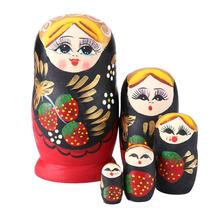 5pcs Wood Russian Nesting Matryoshka Dolls Strawberry Girl Dolls Set Color Painted Toys Decoration Ornament Gifts 5pcs cute wooden dolls animal paint nesting babushka russian dolls children early education birthday matryoshka gift