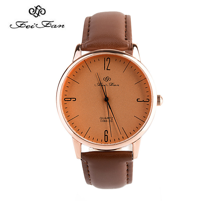 Feifan Brand Men's Watches 2016 New Mens/Womens Luxury Fashion Casual watches Leather belt clock Waterproof case brown clock