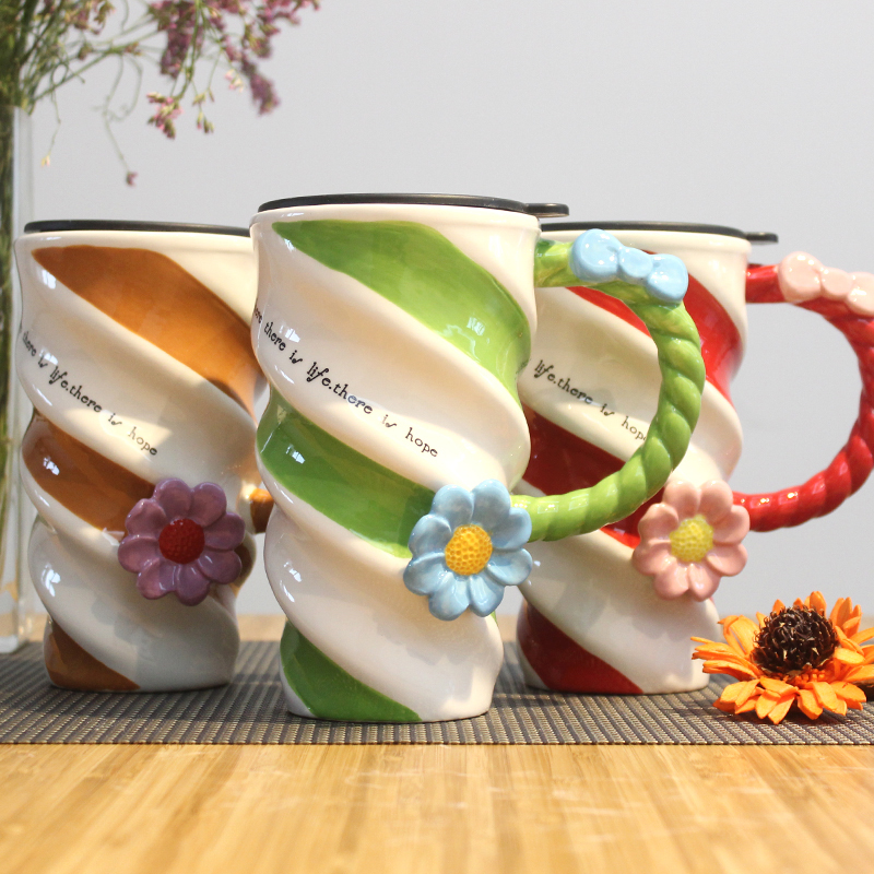 Coffee mug Painted Flower Cup Fashion Creative Ceramic Cup High capacity Mug With Lid Simple Coffee Cup Family party drinkware in Mugs from Home Garden