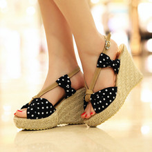 Summer Sandals Wedges Shoes For Women Peep Toe Polka Dot Bow Platform Beach Sandals Plus Size High Heels Buckle-Strap Roman Shoe