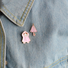2 stks/set Cartoon Roze Regenjas meisje Paraplu Broche Pinnen Gesp Denim Jas Emaille Metalen Pin Badge Sieraden Gift voor Kids meisjes(China)