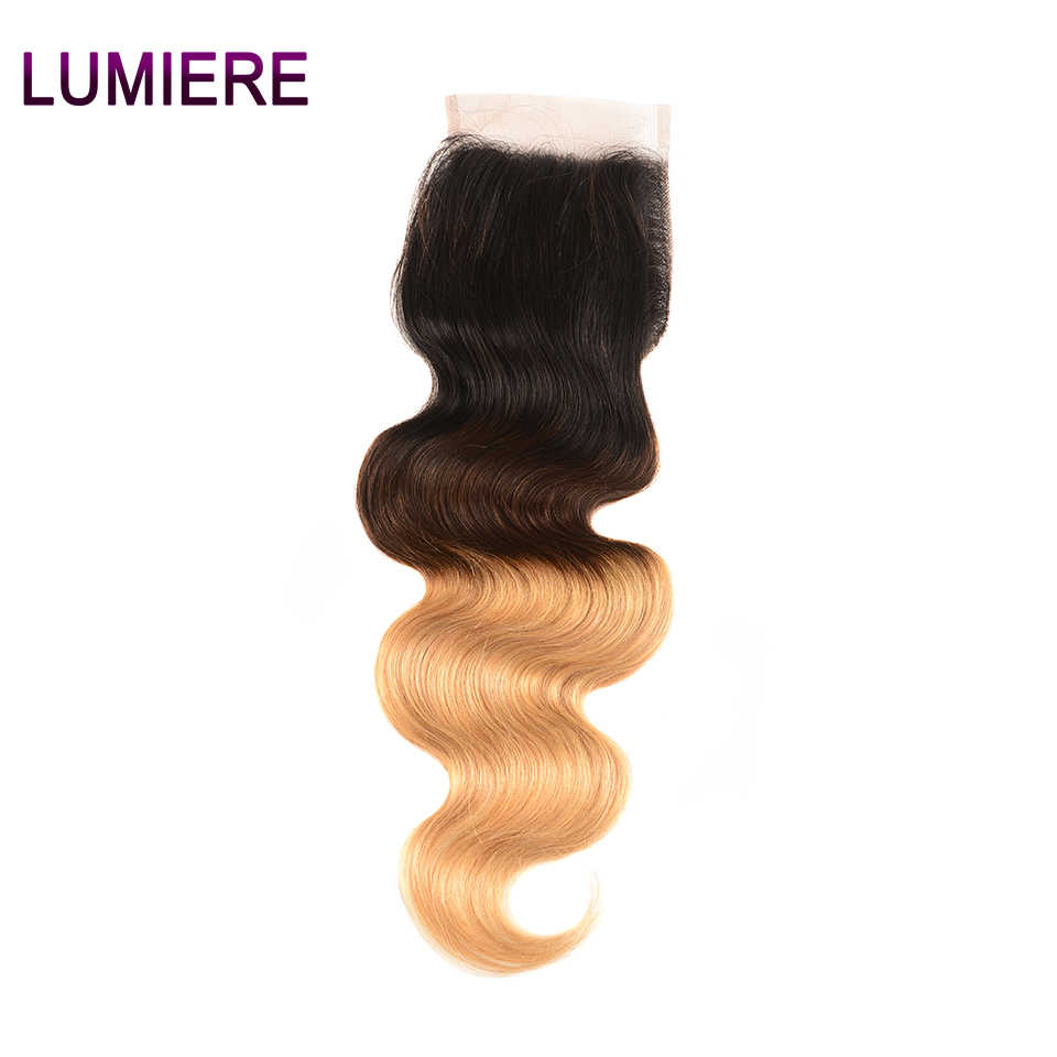Lumiere Hair Ombre Brazilian Body Wave T1B/4/27 Free/Middle/Three Part 4*4 Lace Closures 8-20 inch Non Remy 100% Human Hair