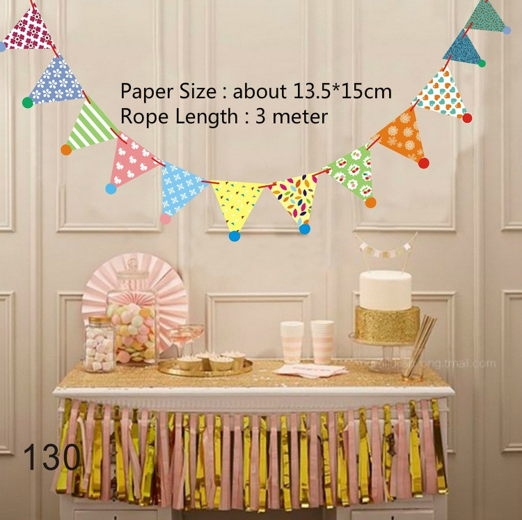 Colorful Paperboard Bunting Flags Happy Birthday Banners Baby Shower Birthday Party Decoration Pendant Home Decoration Supplies in Banners Streamers Confetti from Home Garden
