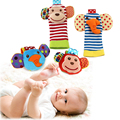 1 pair Infant soft handbells hand wrist strap rattles baby toys bebe rattles/socks can make sound baby boy girl kids toy gift